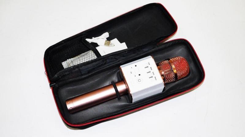 Микрофон Q9 портативный караоке с динамиком с чехлом