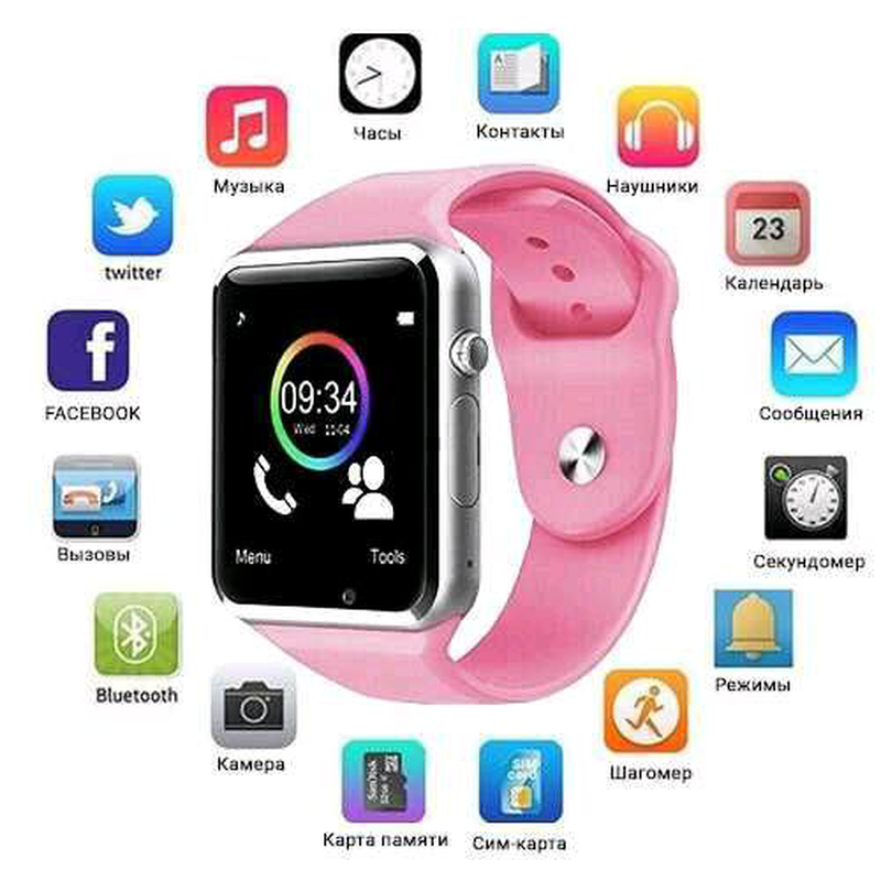 Smart Watch A1, Sim cart + камера, pink