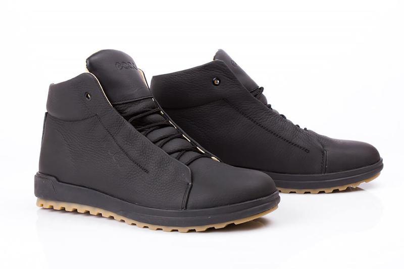 Отличные Качественные Мужские Кожаные Зимние Ботинки Ecco