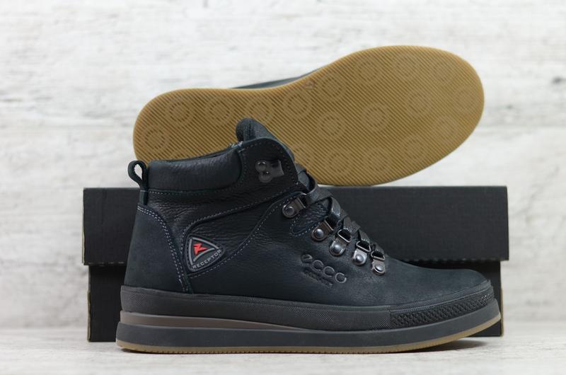 Мужские Качественные Кожаные Зимние Ботинки Ecco - Фото 4