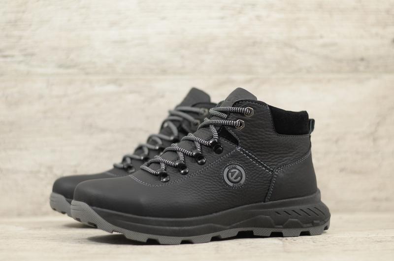 Качественные Мужские Кожаные Зимние Ботинки Ecco - Фото 2