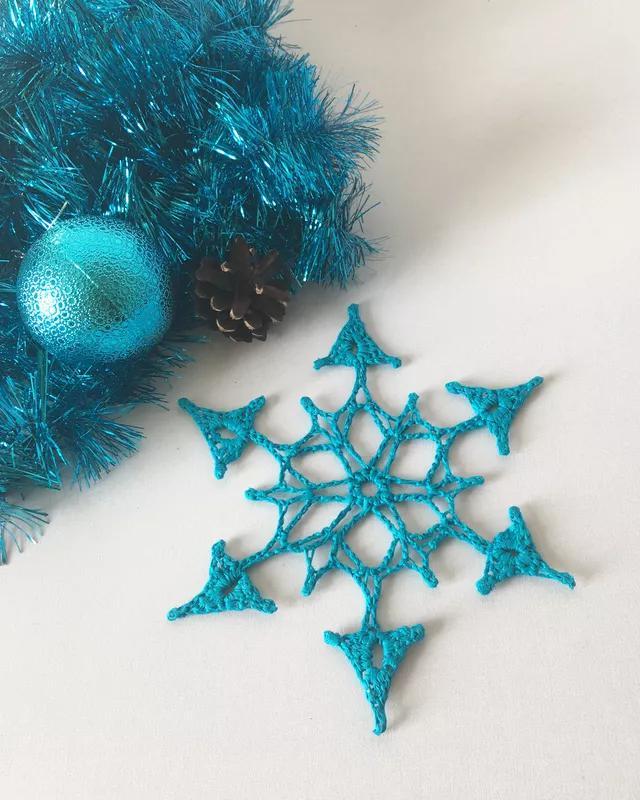 Бирюзовая новогодняя снежинка, новогодний декор