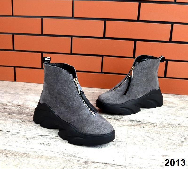 Натуральная замша трендовые зимние ботинки на массивной подошв...