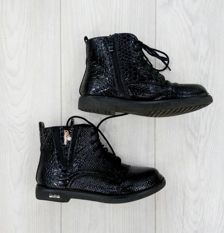 🔥 обвал цен🔥классные  черные ботинки под рептилию