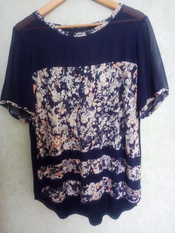 Красивая блуза цветочная поляна с шифоновыми вставками next