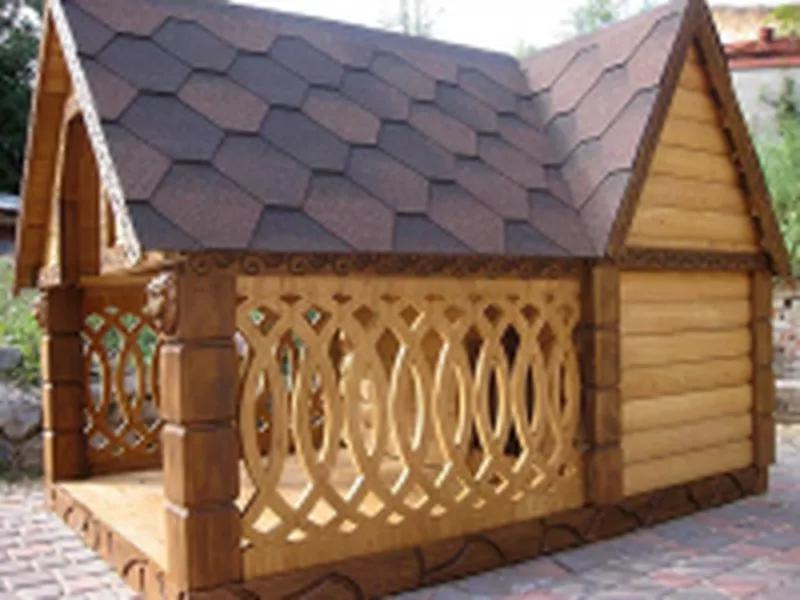 Будка вольер деревянный для собаки с декоративной резьбой, Одесса - Фото 2