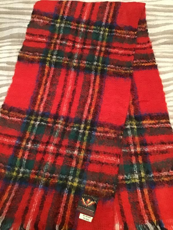 Шикарный большой шотландский красный мохеровый шарф в клетку