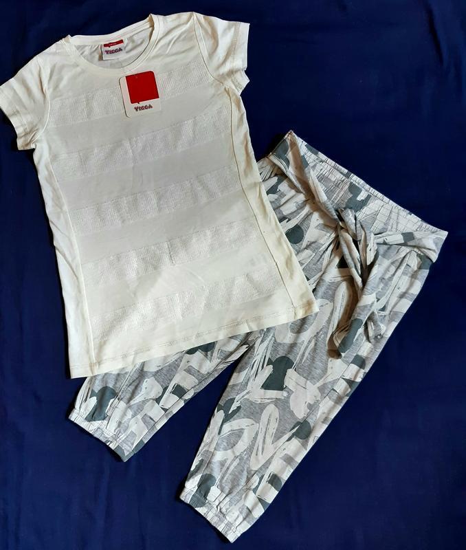 Серо белый нарядный комплект бриджи и футболка пайетки yigga г...