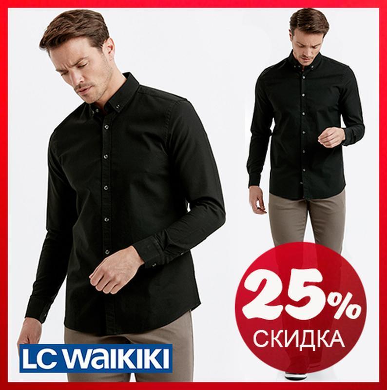 Черная мужская рубашка lc waikiki / лс вайкики с пуговицами на...