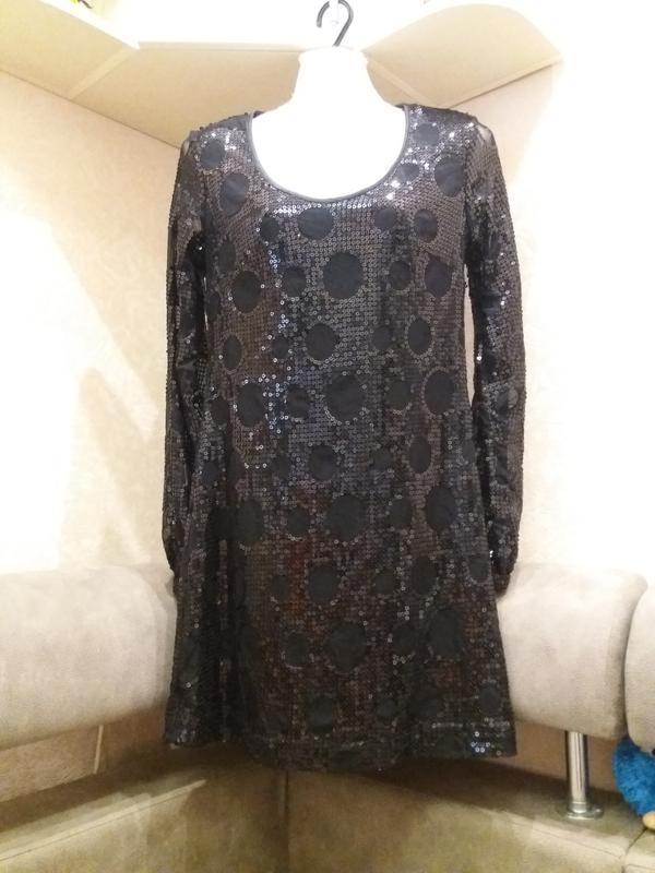 Черное коктельное платье пайетки new look