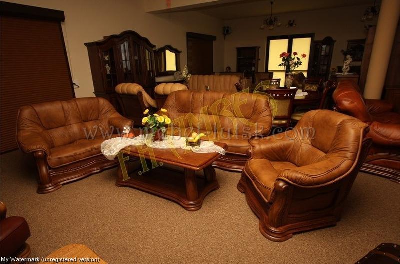 Новый кожаный диван и два кресла Warkos