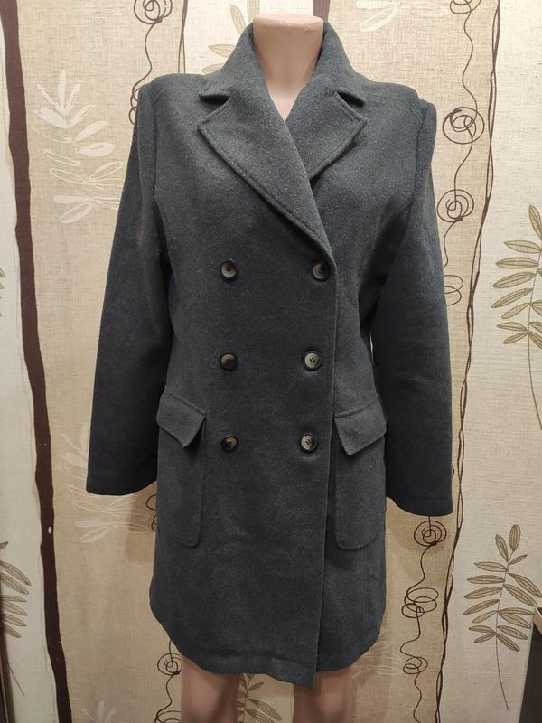 B.young серое двубортное демисезонное пальто