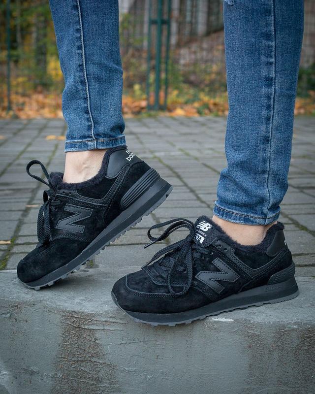 ✳️new balance 574 black fure✳️зимние женские кроссовки с мехом...