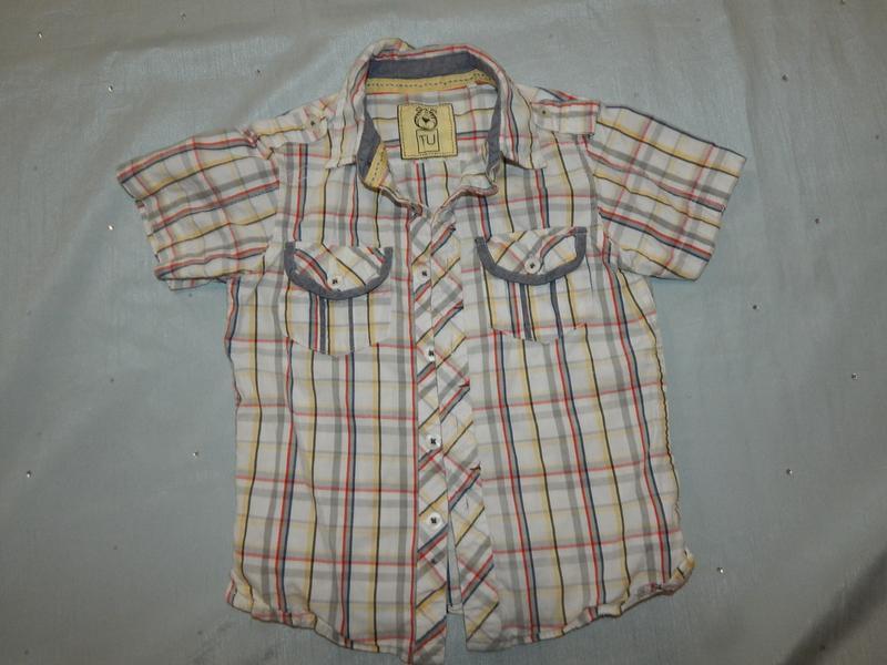 Рубашка в клетку на мальчика 2-3 года с карманами tu