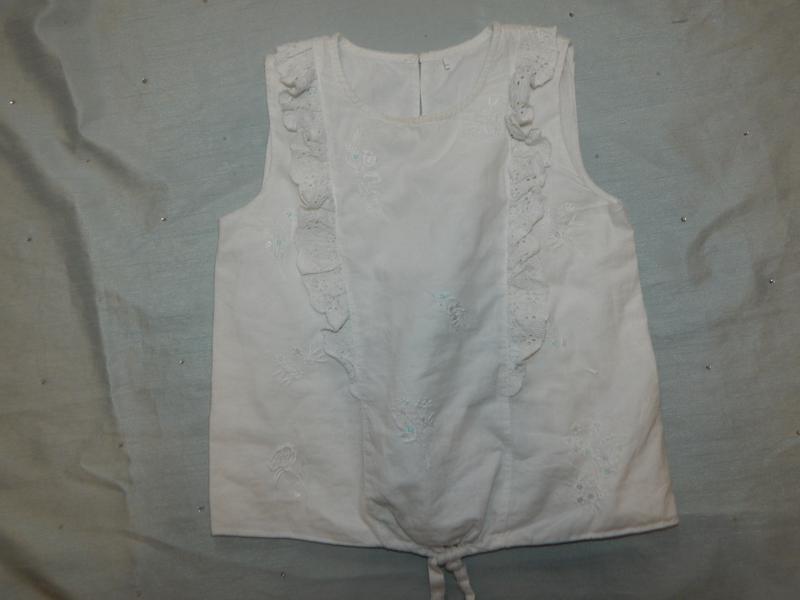 Блузка белая нарядная летняя батистовая на девочку 6-7 лет 122 см