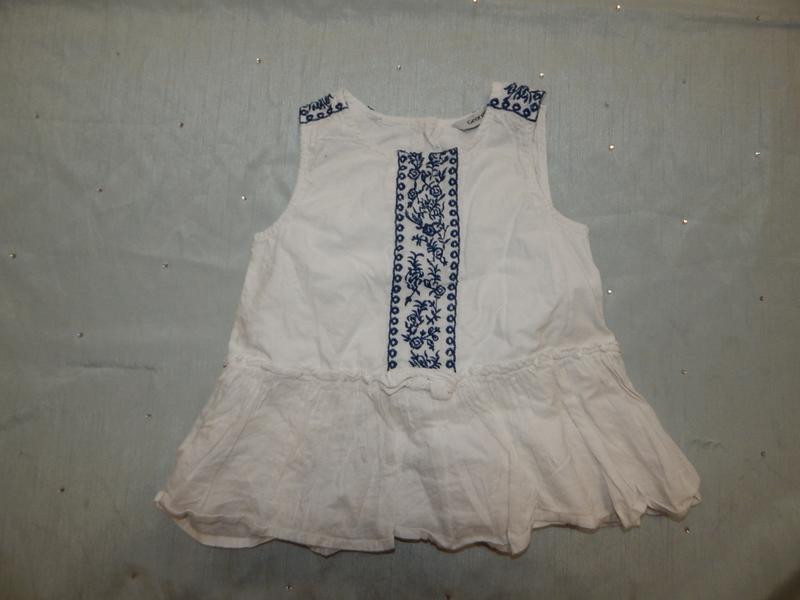 Блузка батистовая с вышивкой на девочку 1,5-2 года 86-92 см