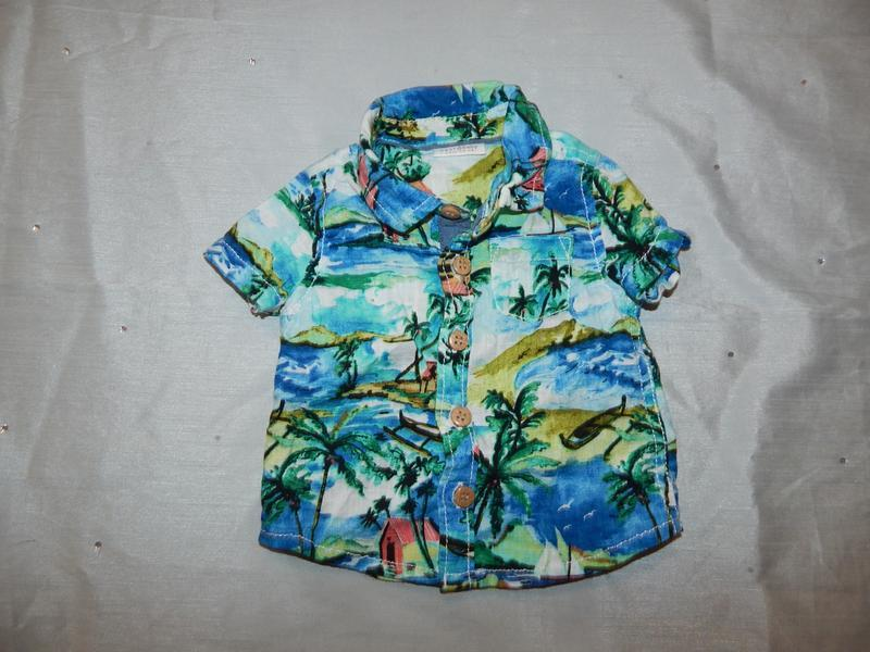 Рубашка на малыша гавайка на 4,5 кг 0-1 мес