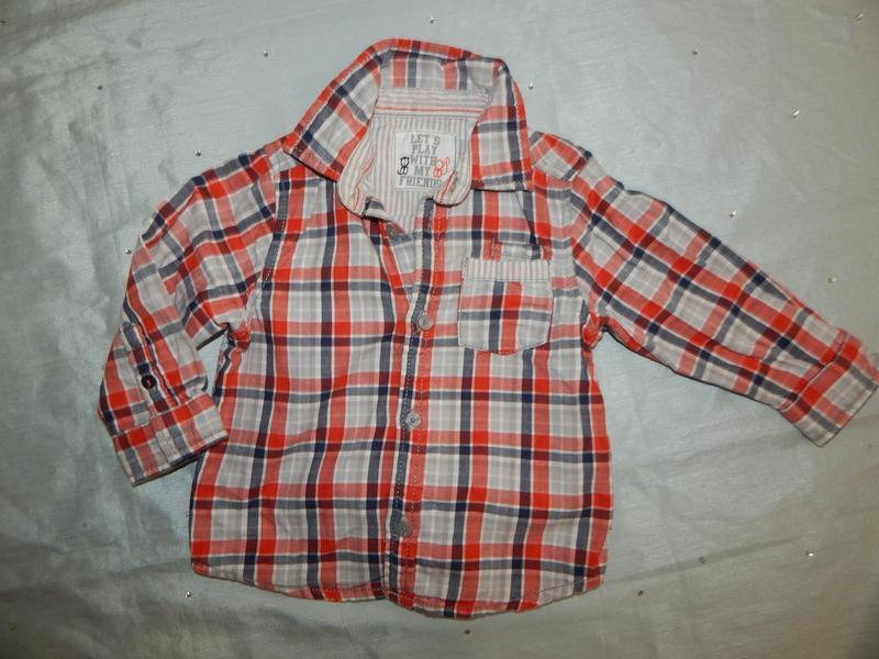Рубашка в клетку модная на малыша 1годик 74см