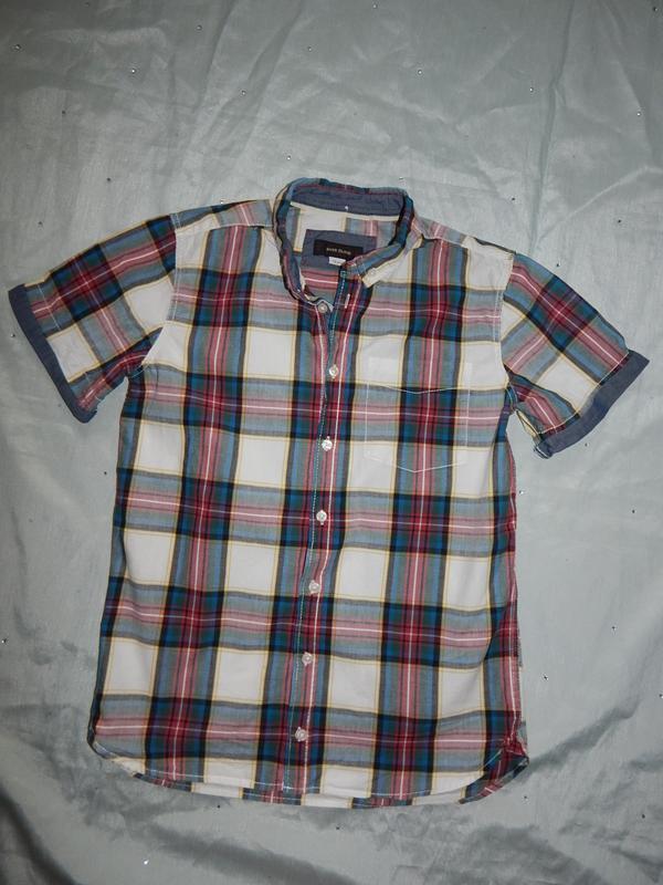 Рубашка в клетку на мальчика модная 12лет 152см