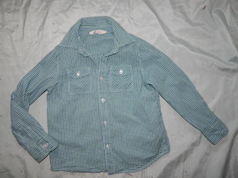 Рубашка модная на мальчика в клетку 6-7 лет 122см