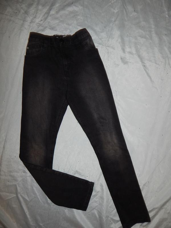 Джинсы модные черные на мальчика 13 лет 158см super skinny