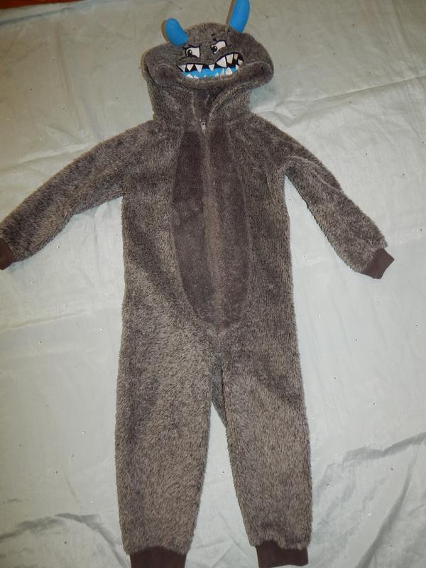 Слип пижама человечек на мальчика плюшевый 4-5 года 104-110см