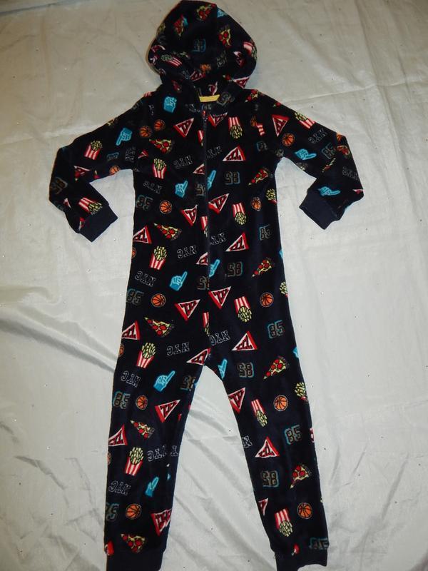 Слип пижама человечек на мальчика плюшевая 7 лет 122см