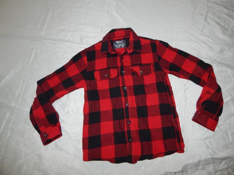 Рубашка в клетку модная байка на мальчика 10-11 лет 146см