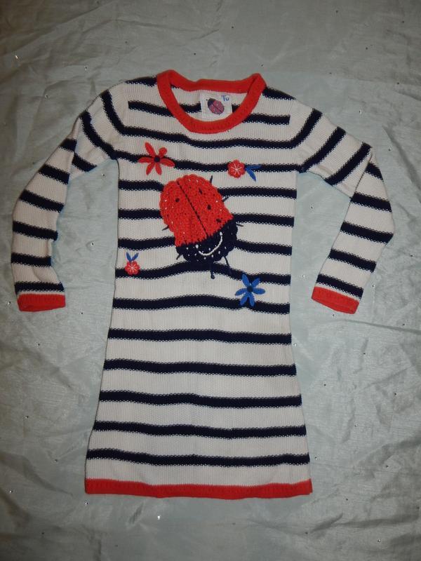 Платье вязанное на девочку 4-5 лет 110см