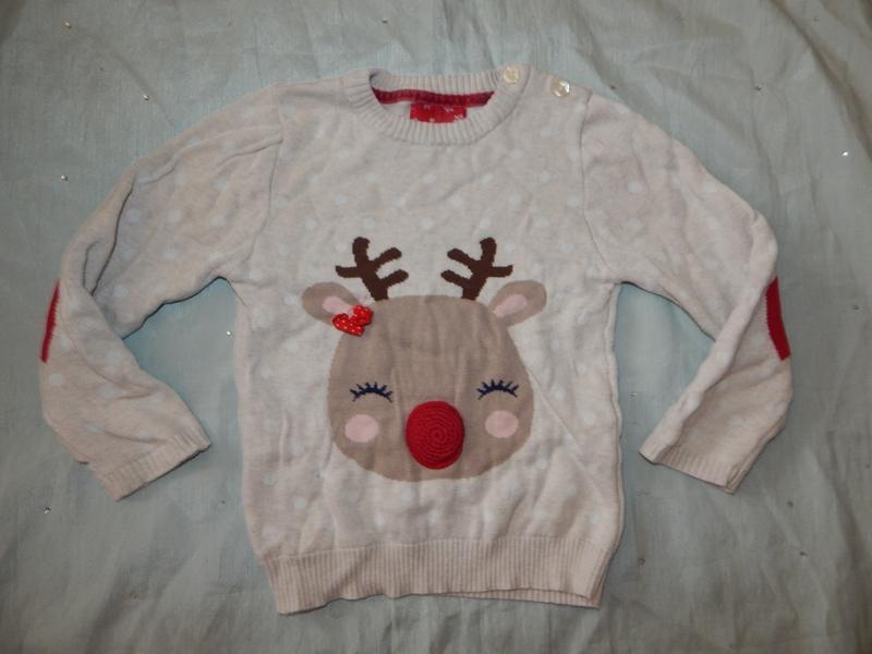 Свитер новогодний на девочку 2-3 года с оленем модный 98см