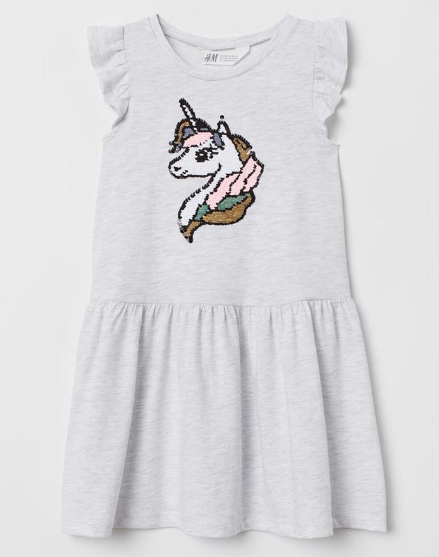 """H&m платье с пайетками """"единорог"""" для девочки"""