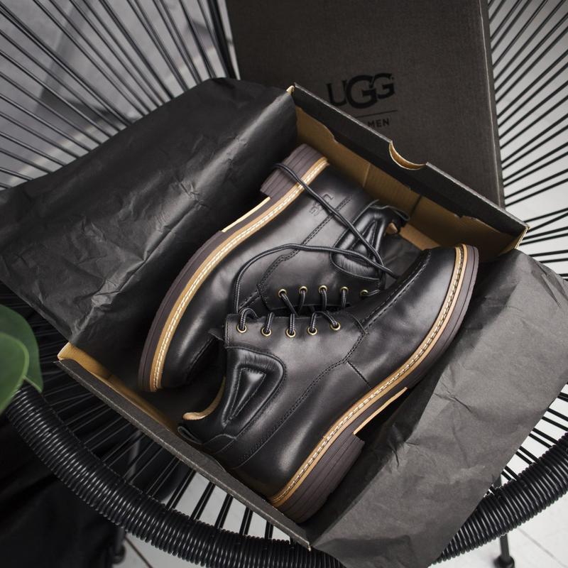 😎крутые мужские угги, кожаные, чёрные ботинки/уги.