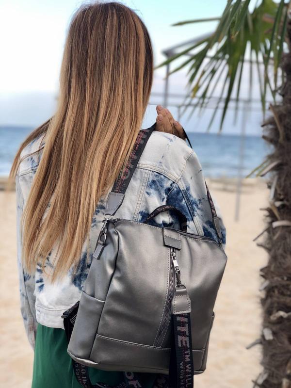 Сумка-рюкзак искусственная кожа металлик