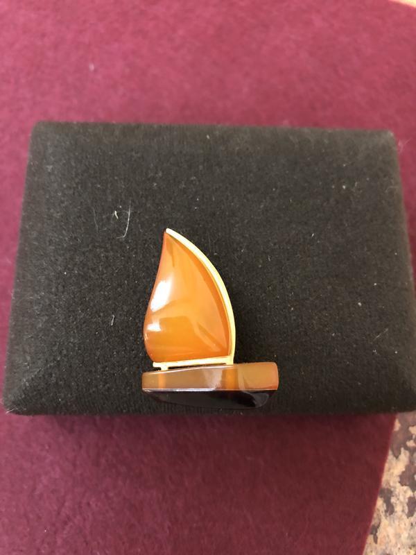 Винтажная брошь ссср натуральный калининградский янтарь