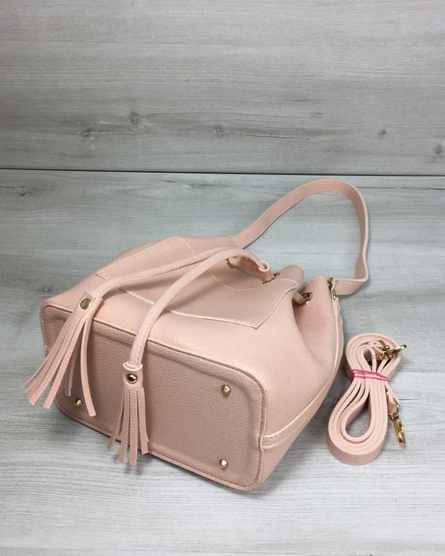 Набор сумка с клатчем 2в1 пудрового цвета - Фото 2