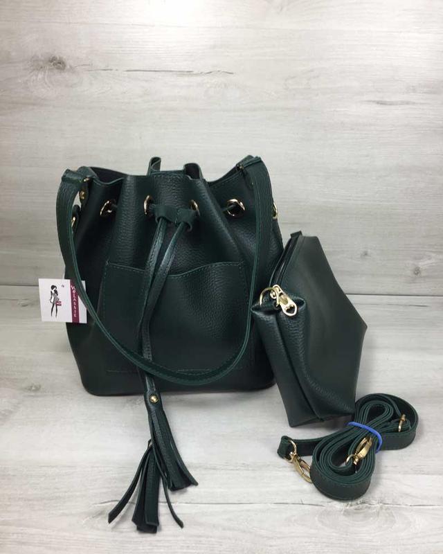 Набор сумка с клатчем 2в1 зеленого цвета