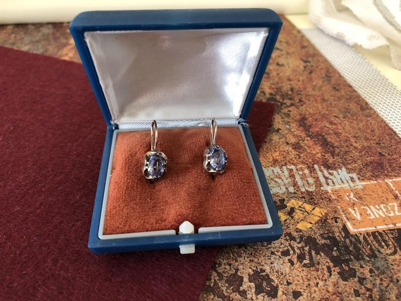 Винтажные серьги ссср серебро 875 проба, звезда топаз