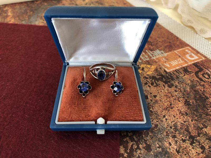 Винтажные серьги кольцо ссср серебро 875 проба, звезда сапфир