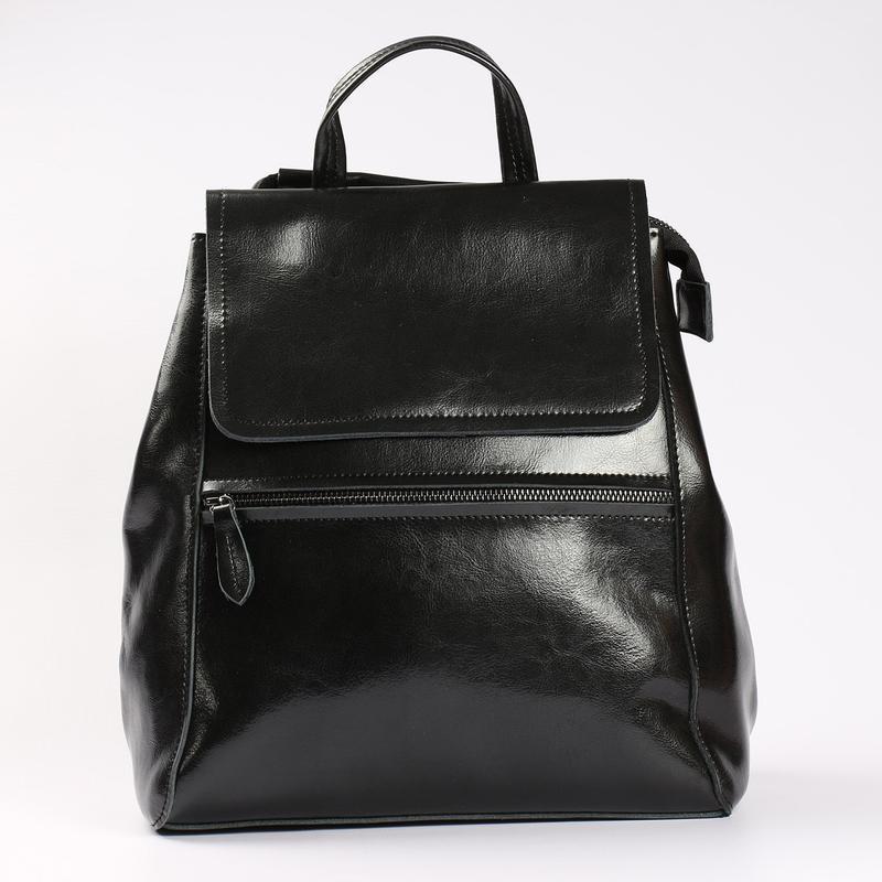 Есть наложенный платеж! кожаный рюкзак, сумка черная - Фото 2