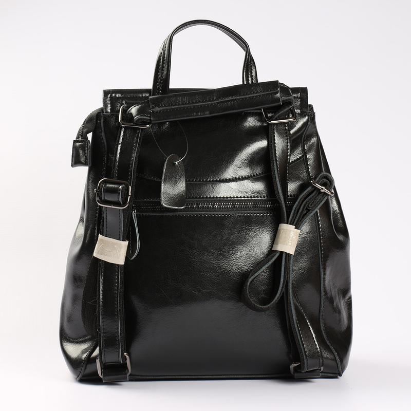 Есть наложенный платеж! кожаный рюкзак, сумка черная - Фото 4