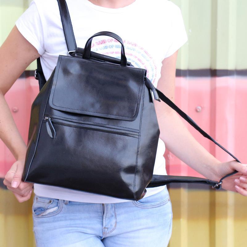 Есть наложенный платеж! кожаный рюкзак, сумка черная - Фото 5