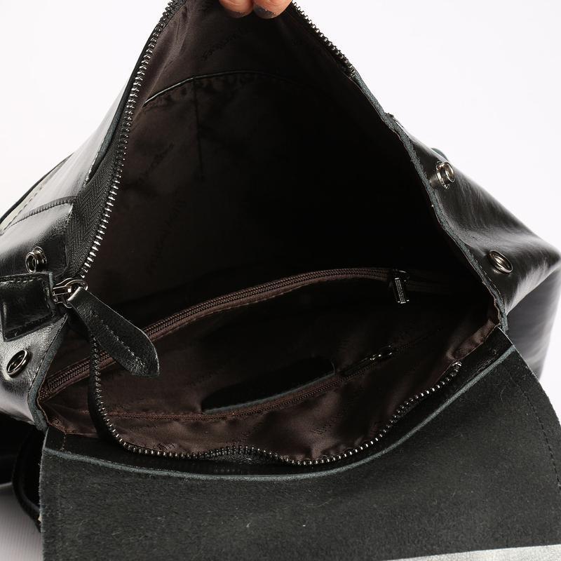 Есть наложенный платеж! кожаный рюкзак, сумка черная - Фото 7