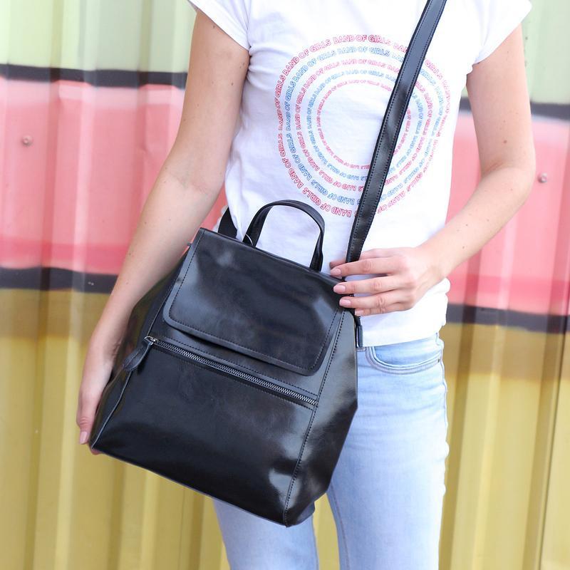 Есть наложенный платеж! кожаный рюкзак, сумка черная - Фото 8