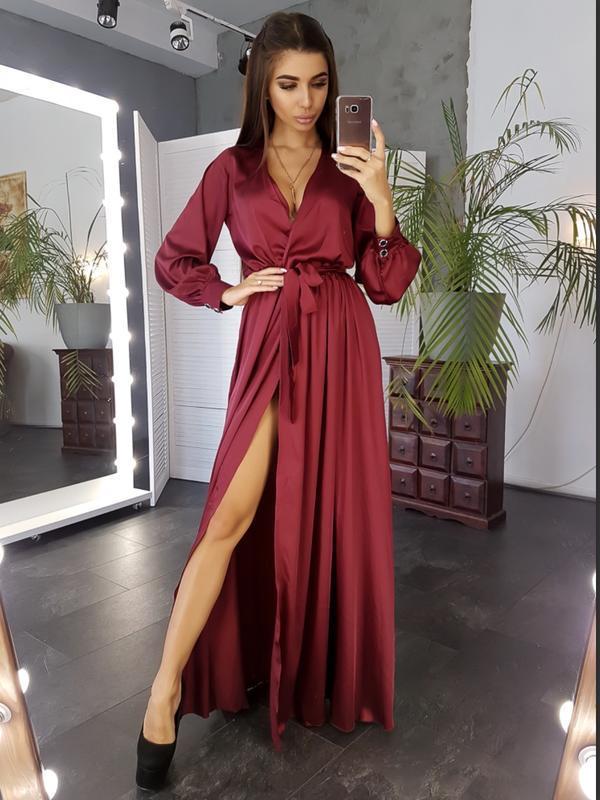 Платье шелковое макси с запахом на груди