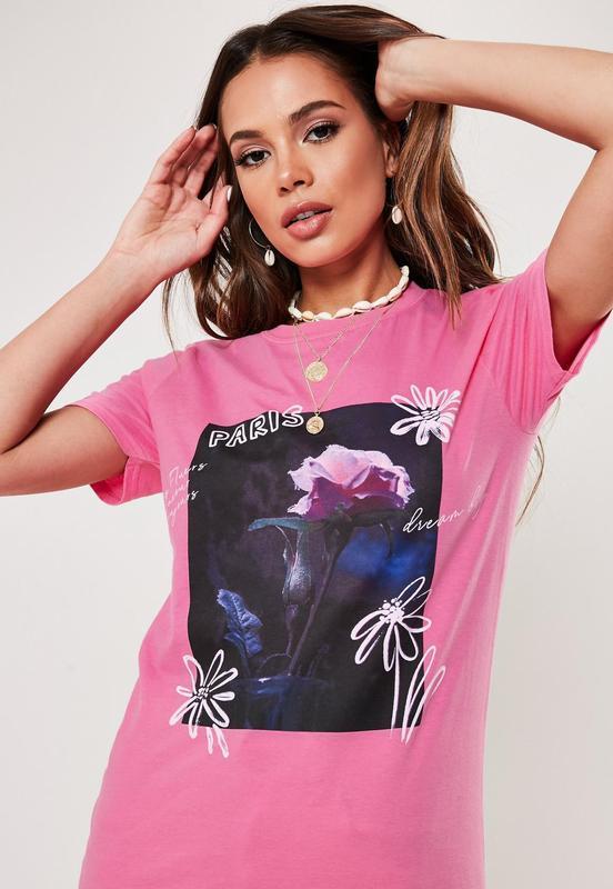 Missguided. товар из англии. розовая футболка с потрясающим пр...