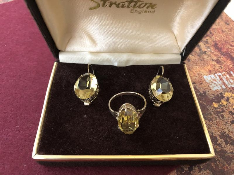 Серьги кольцо винтажные ссср серебро 875 проба,звезда, цитрин