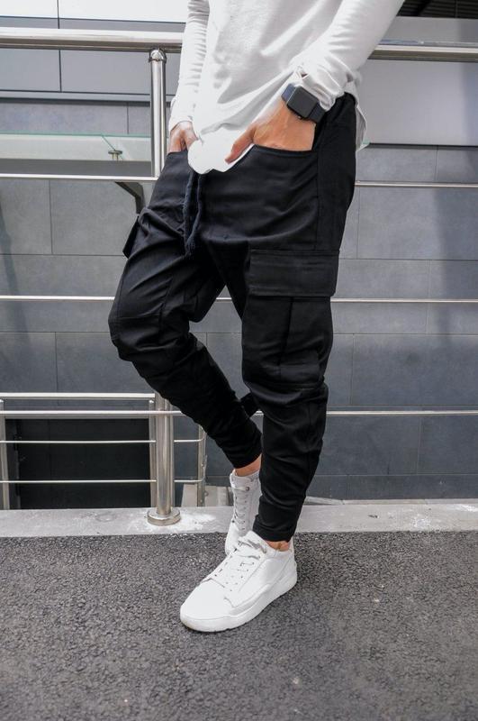 Мужские штаны брюки карго на манжете черные