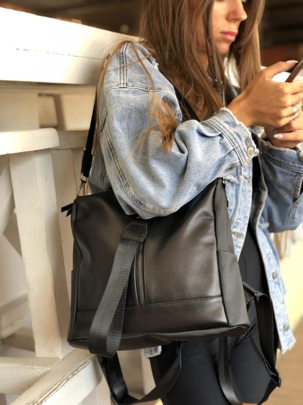 3 цвета! черный кожаный сумка рюкзак а4 повседневный городской...