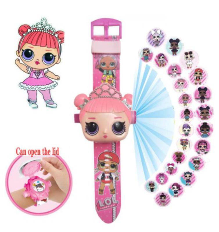 Часы кукла Лол детские с проектором, розовые, 24 картинки