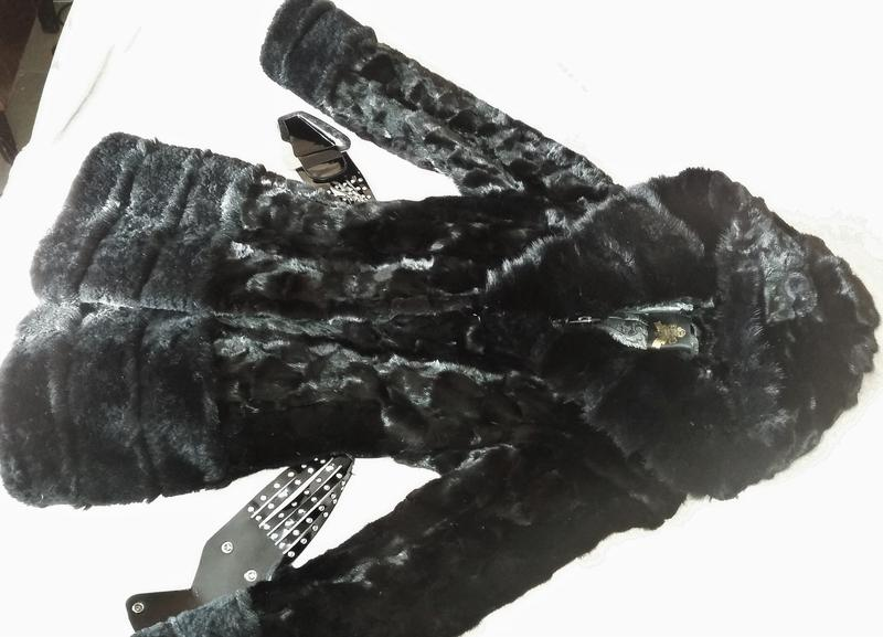 Норковая шуба с капюшоном, черная, шубка в идеале, приталенная - Фото 4